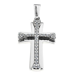 Facad'oro STA636W White Gold Baptismal Cross 9ct - Goldy Jewelry