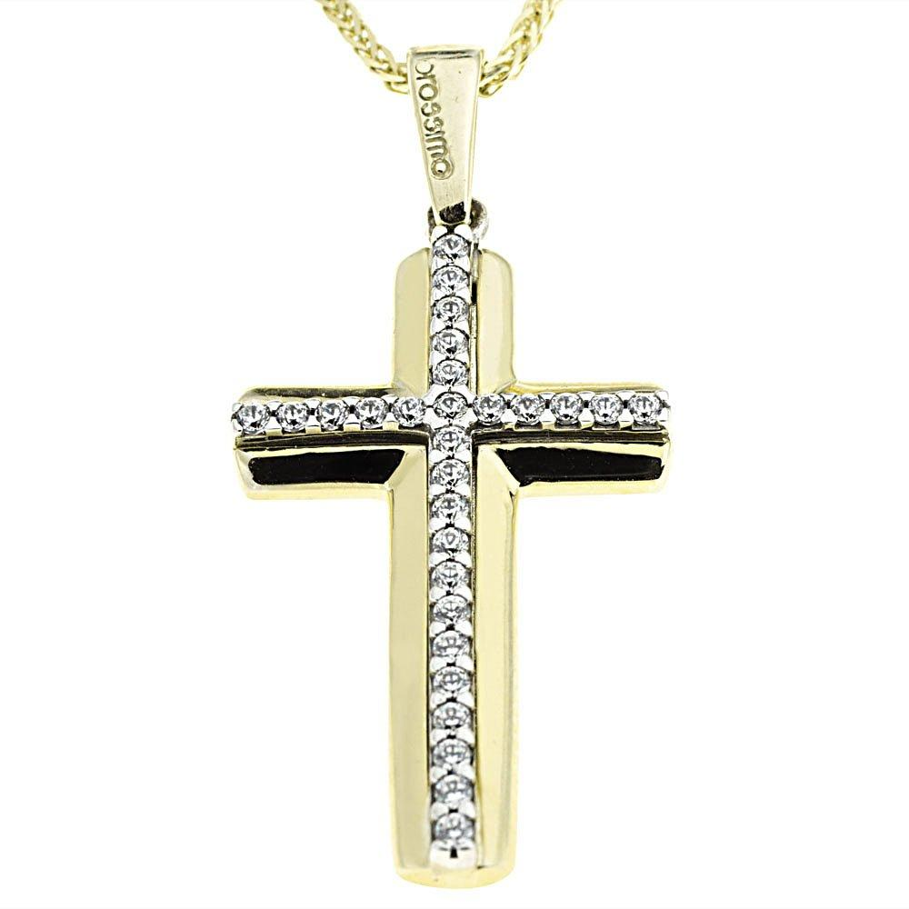 Facad'oro STA637 9ct Gold Baptismal Cross - Goldy Jewelry Store