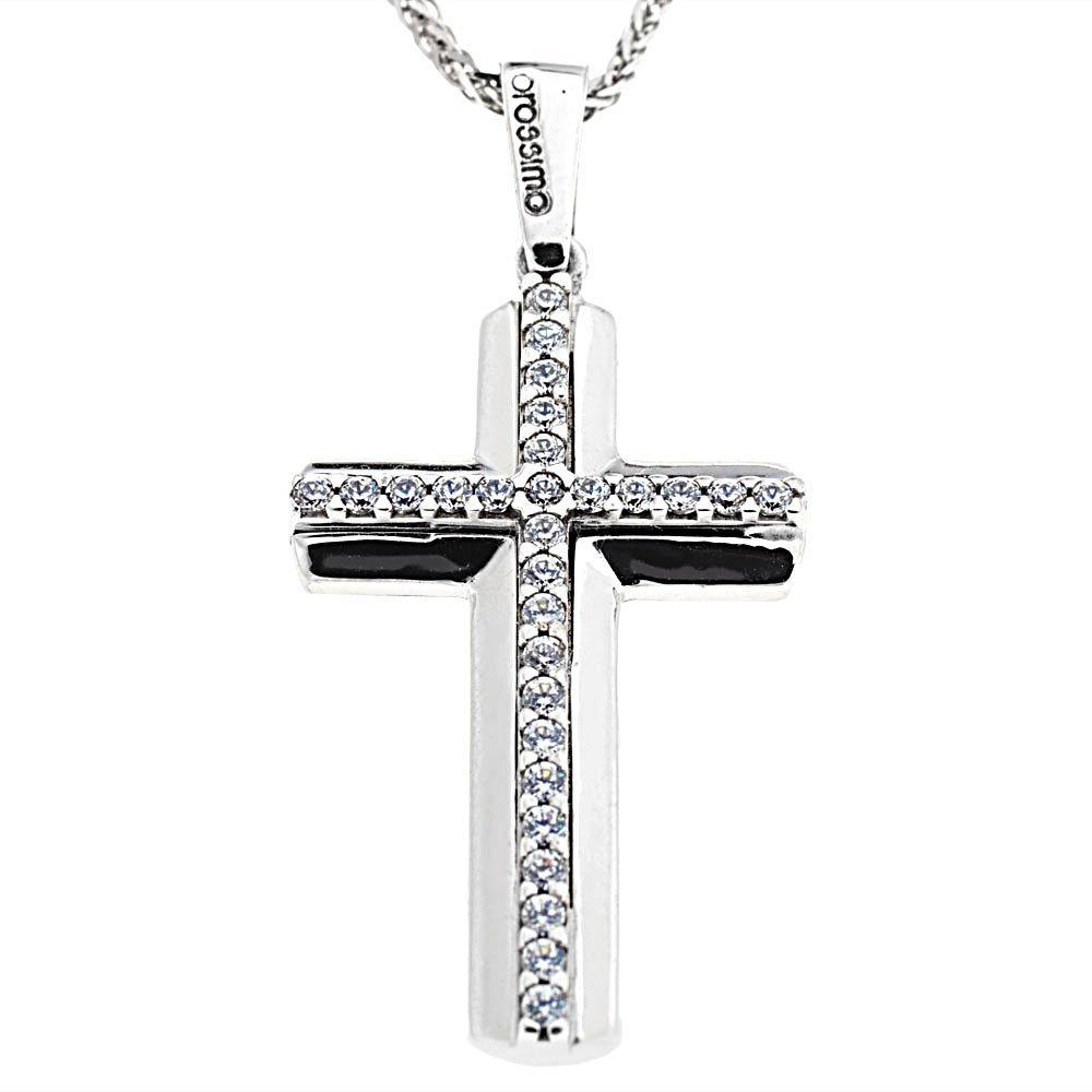 Facad'oro STA637W White Gold Baptismal Cross 9ct - Goldy Jewelry