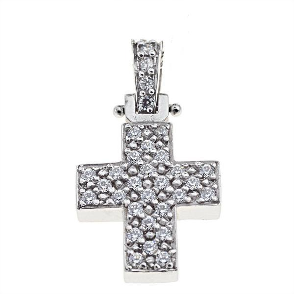 Facad'oro STA70 14ct White Gold Baptismal Cross - Goldy Jewelry Store