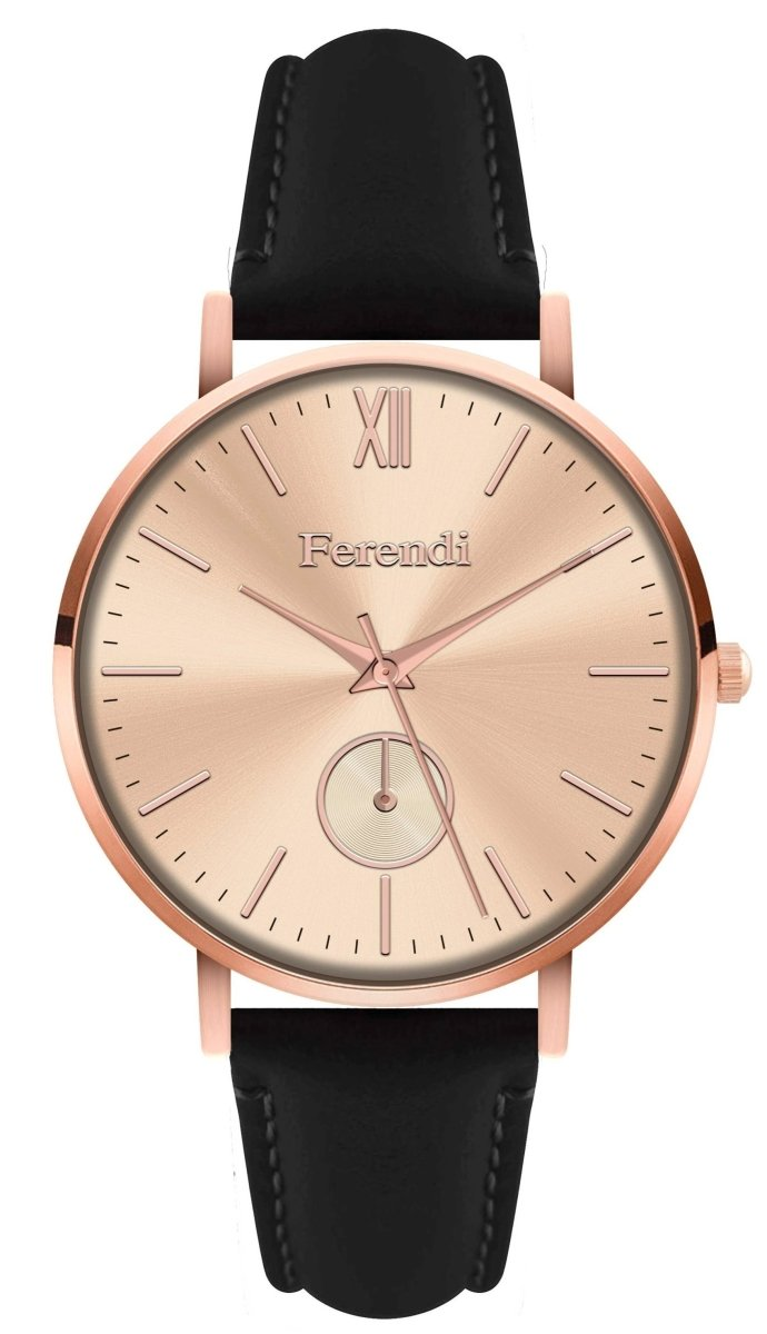 Ferendi 4036R-11 Achelois Black Leather Strap - Κοσμηματοπωλείο Goldy