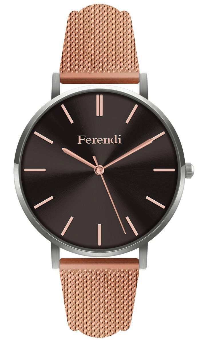 Ferendi 4036S-106 Black Velvet Rose Gold Stainless Steel Bracelet - Κοσμηματοπωλείο Goldy