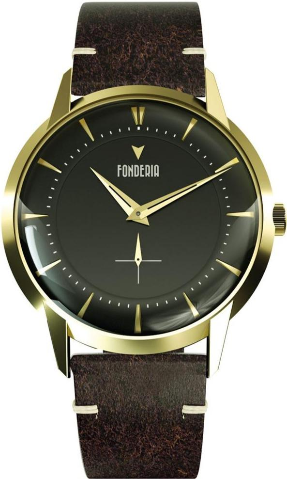 Fonderia P-6G016UNG The Professor II Brown Leather Strap - Jewelry Goldy