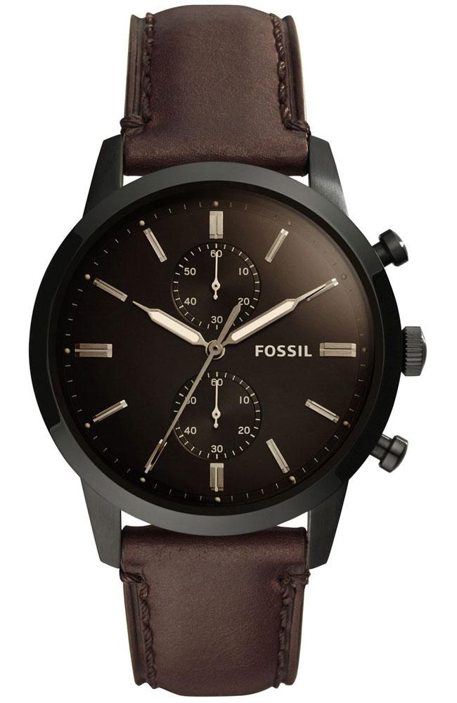 FOSSIL FS5437 Townsman Brown Leather Chronograph - Κοσμηματοπωλείο Goldy