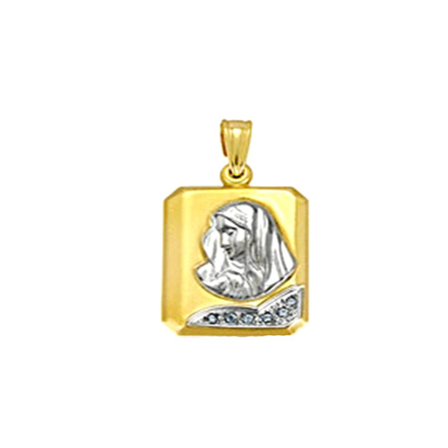 Amulet with Madonna PD11034 Gold K9 - Goldy Jewelry Store
