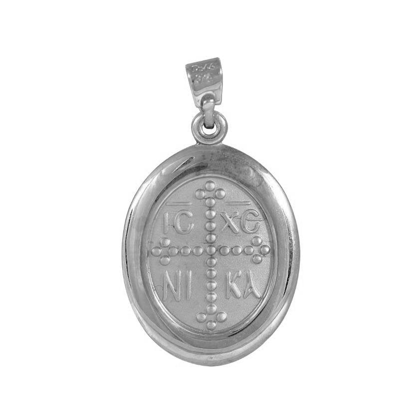 Amulet PD11005W-2 Christ Head White Gold K9 Double Sided - Goldy Jewelry Store