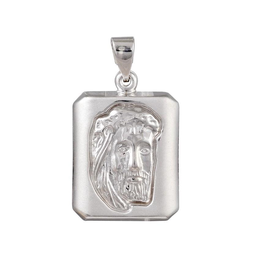 Amulet PD11032W Christ's Head in White Gold K9 - Goldy Jewelry Store