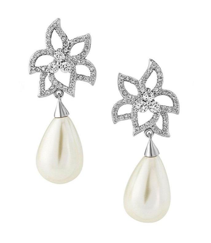 Gloria Hope 3755 Steel Bridal Earrings with Pearls - Goldy Jewelry Store