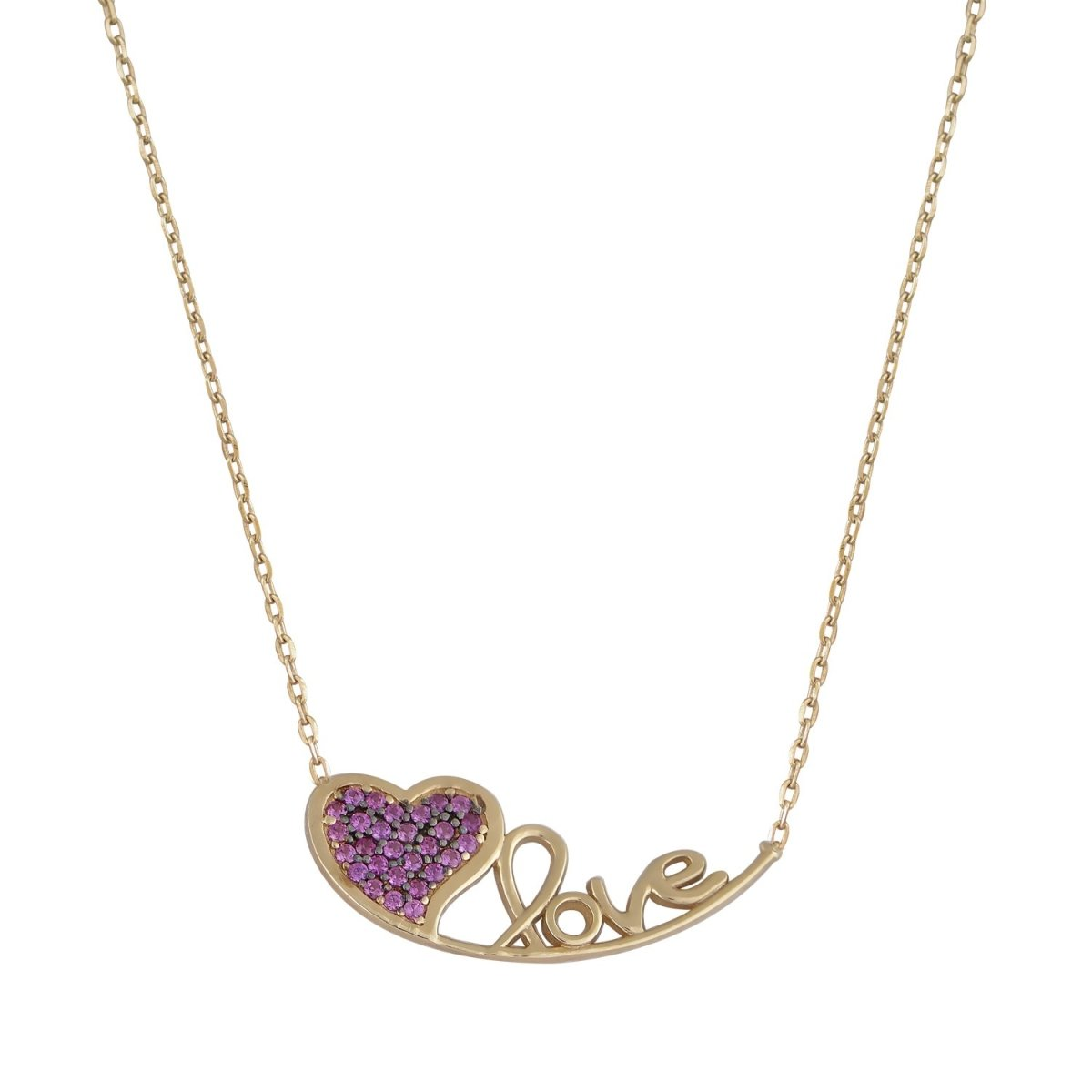 G508 Love Necklace with Heart in 14ct Gold - Goldy Jewelry Store