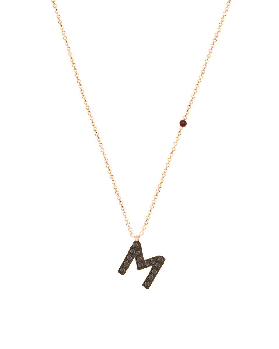 Necklace G8001R Monogram M Pink Gold 9ct with Zircon - Goldy Jewelry Store