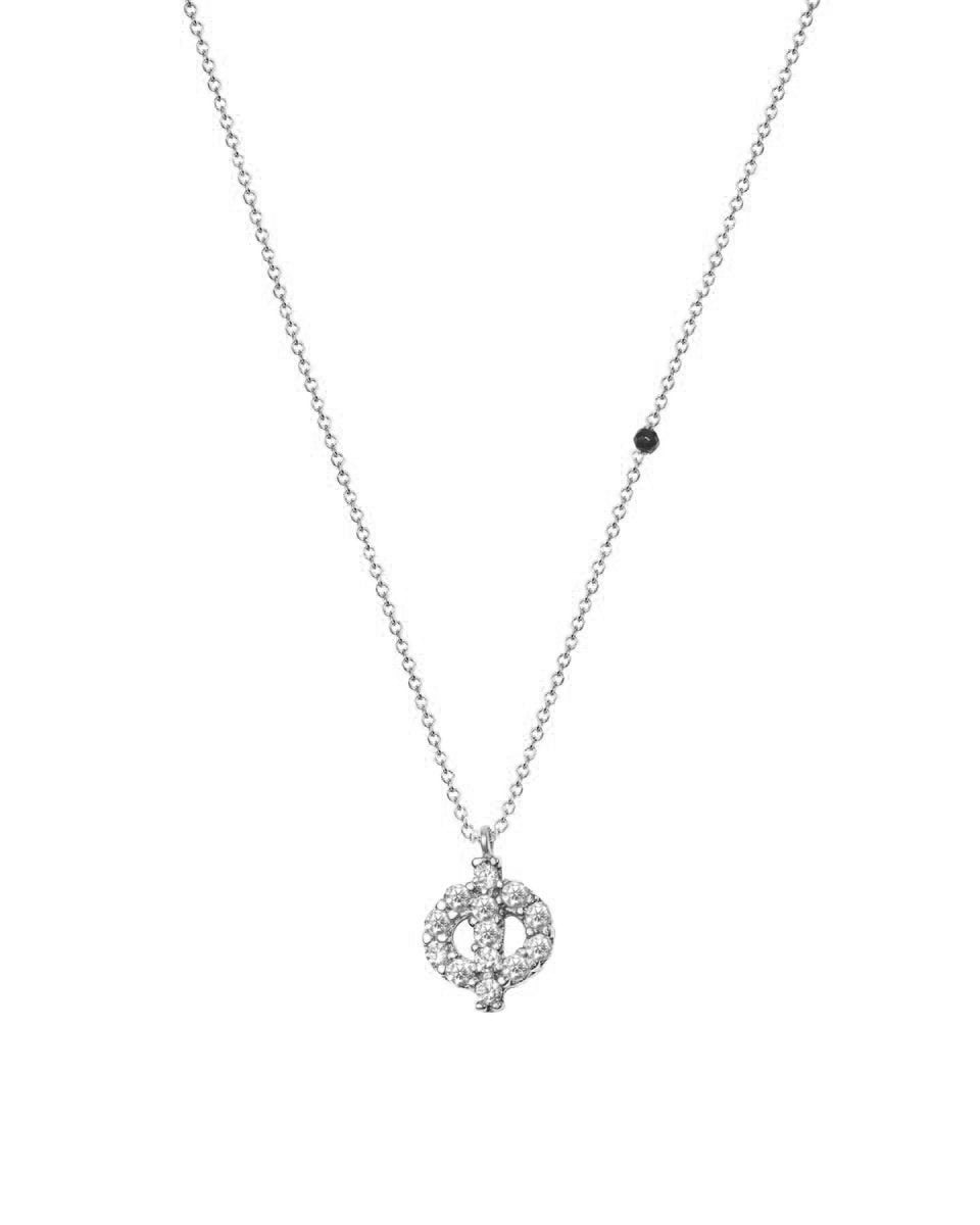 Necklace G8003 Monogram Φ 9ct White Gold with Zircon - Goldy Jewelry Store