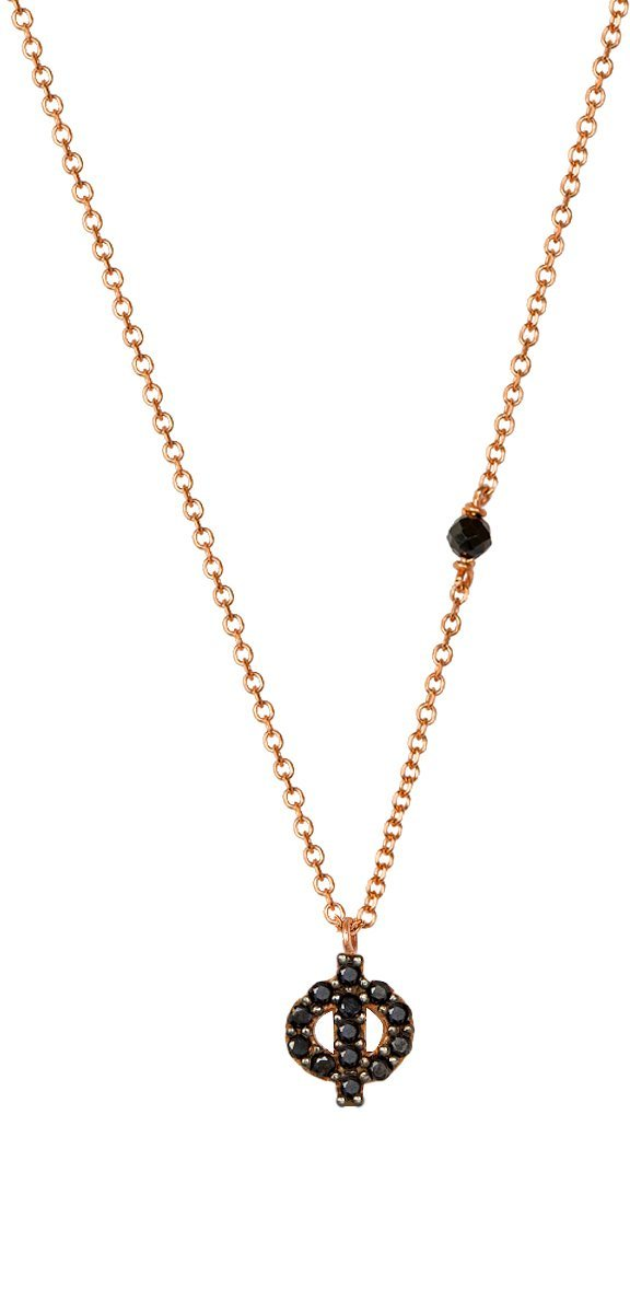 Necklace G8003R Monogram F Pink Gold 9ct with Zircon - Goldy Jewelry Store