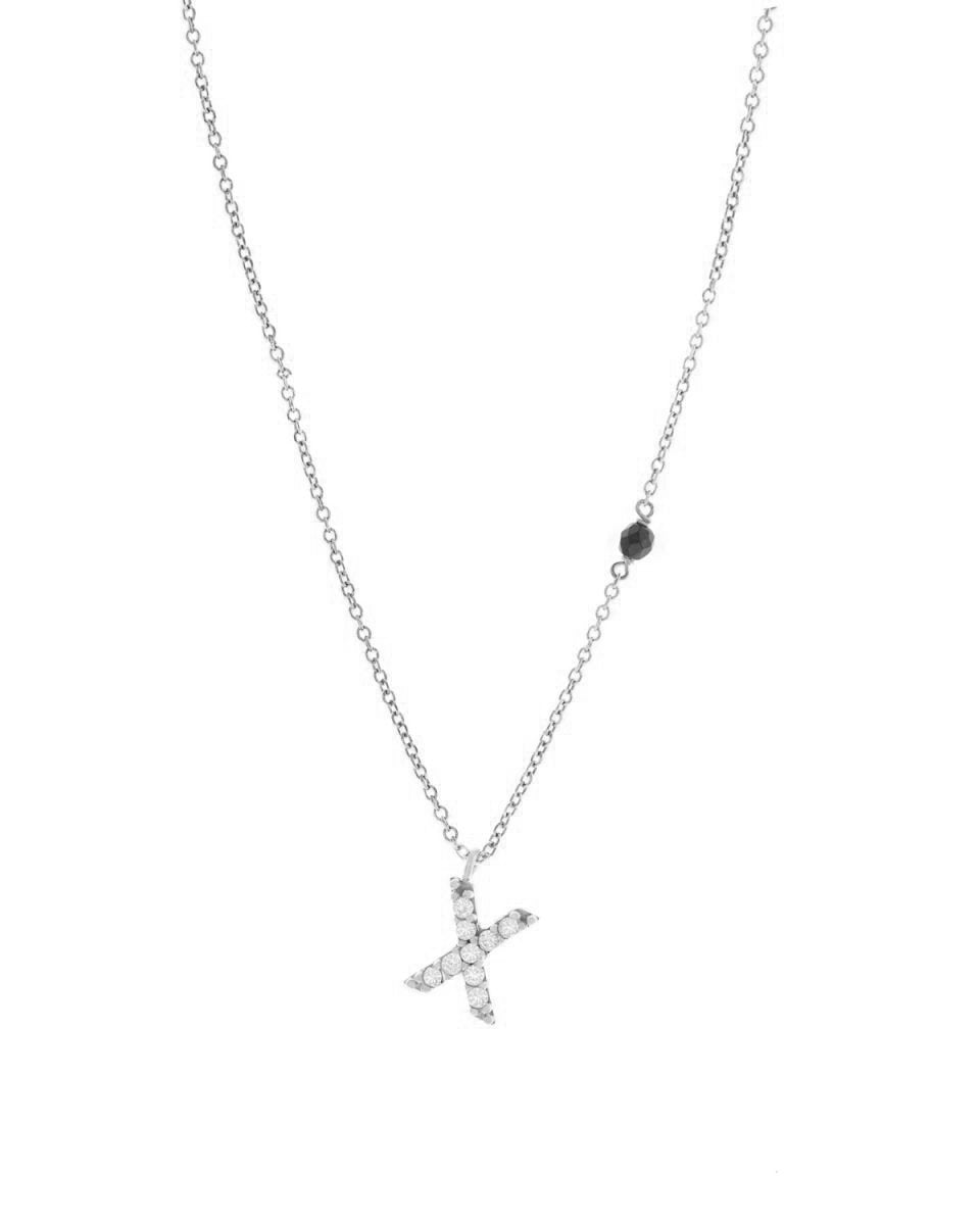 Necklace G8004 Monogram X White Gold 9ct with Zircon - Goldy Jewelry Store