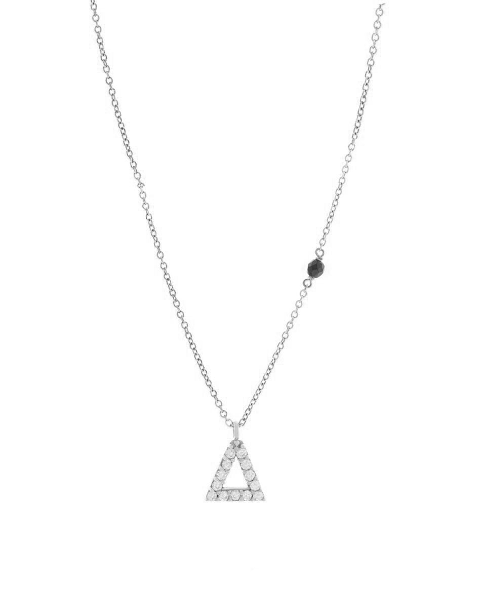 Necklace G8007 Monogram D 9ct White Gold with Zircon - Goldy Jewelry Store