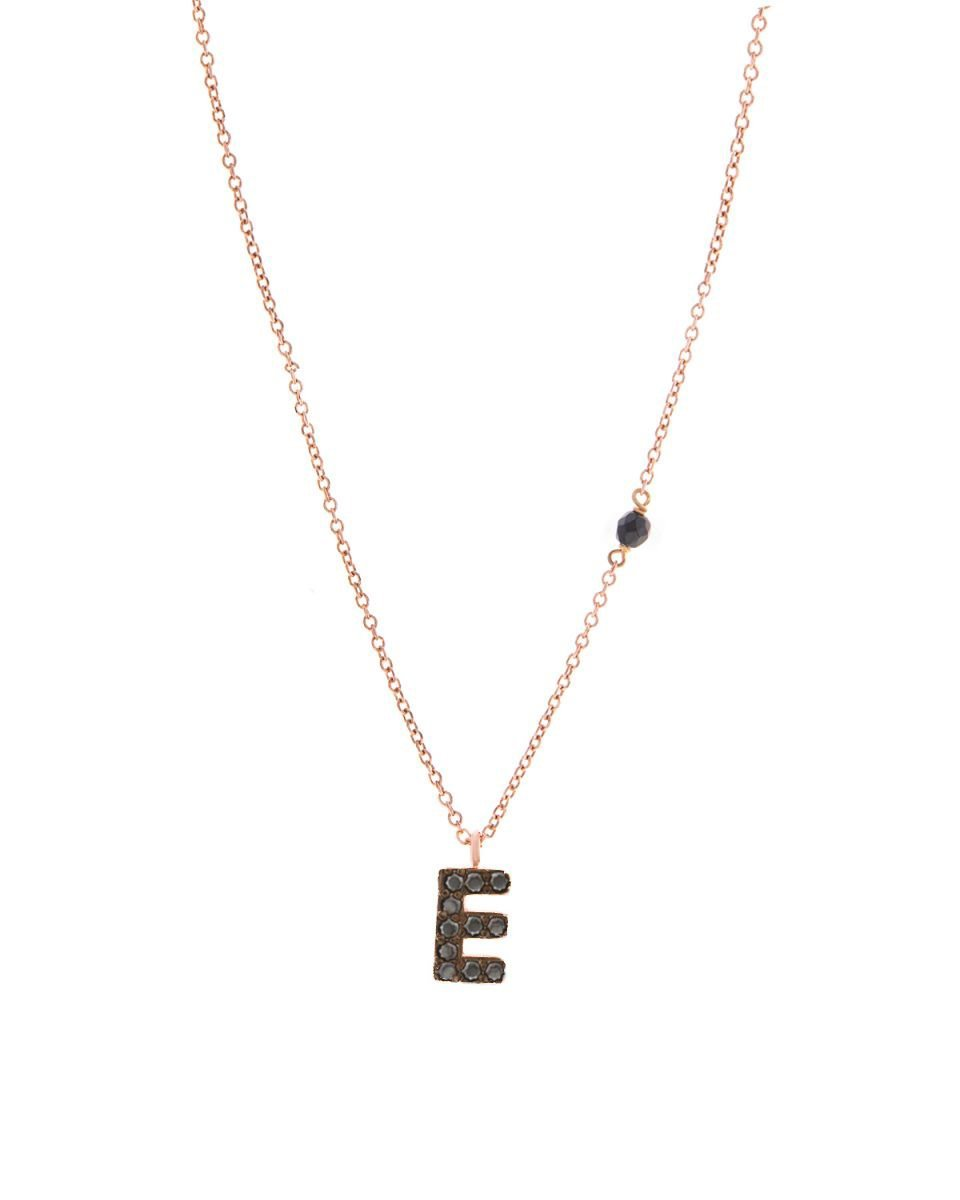 Necklace G8008R Monogram E Pink Gold 9ct with Zircon - Goldy Jewelry Store