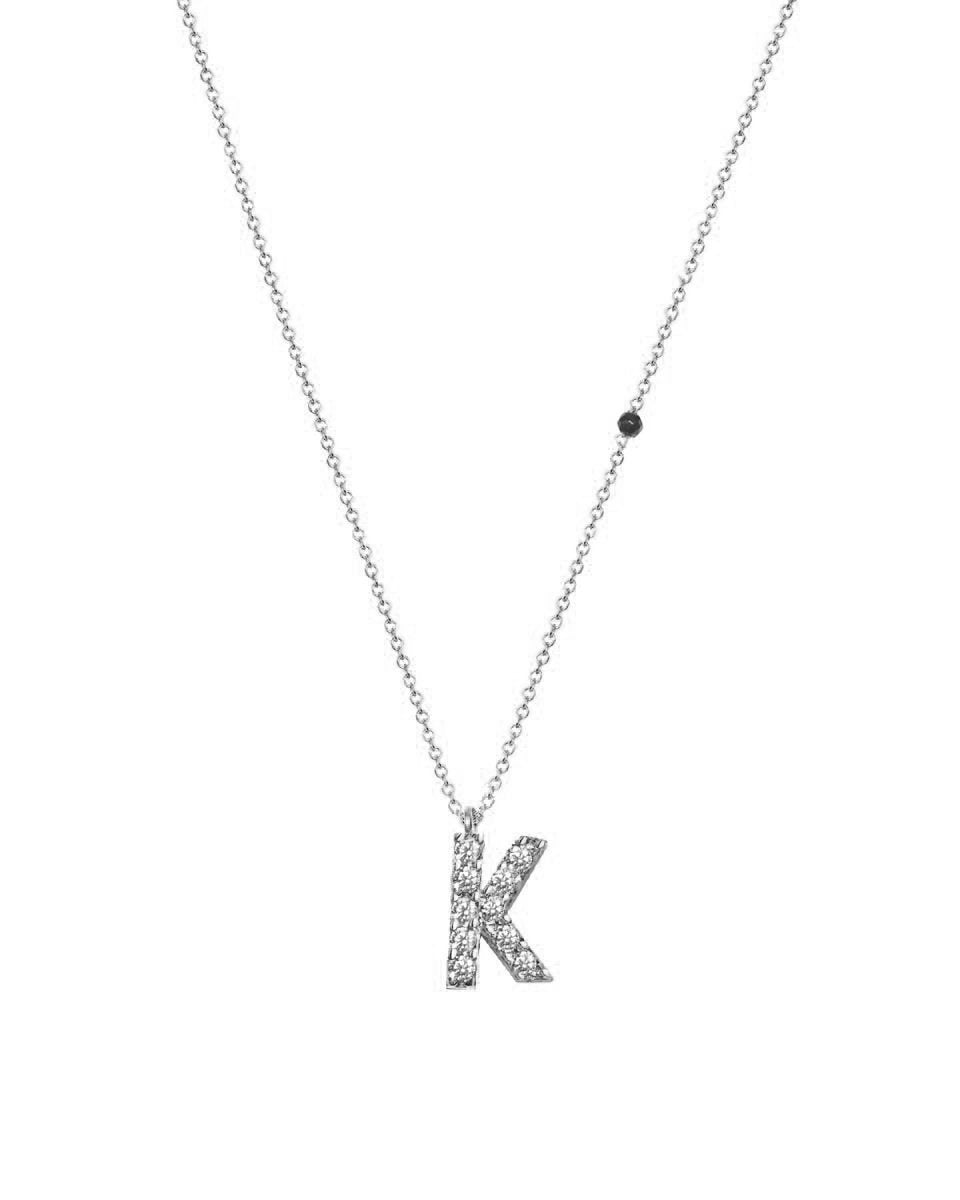 Necklace G8009 Monogram K White Gold 9ct with Zircon - Goldy Jewelry Store