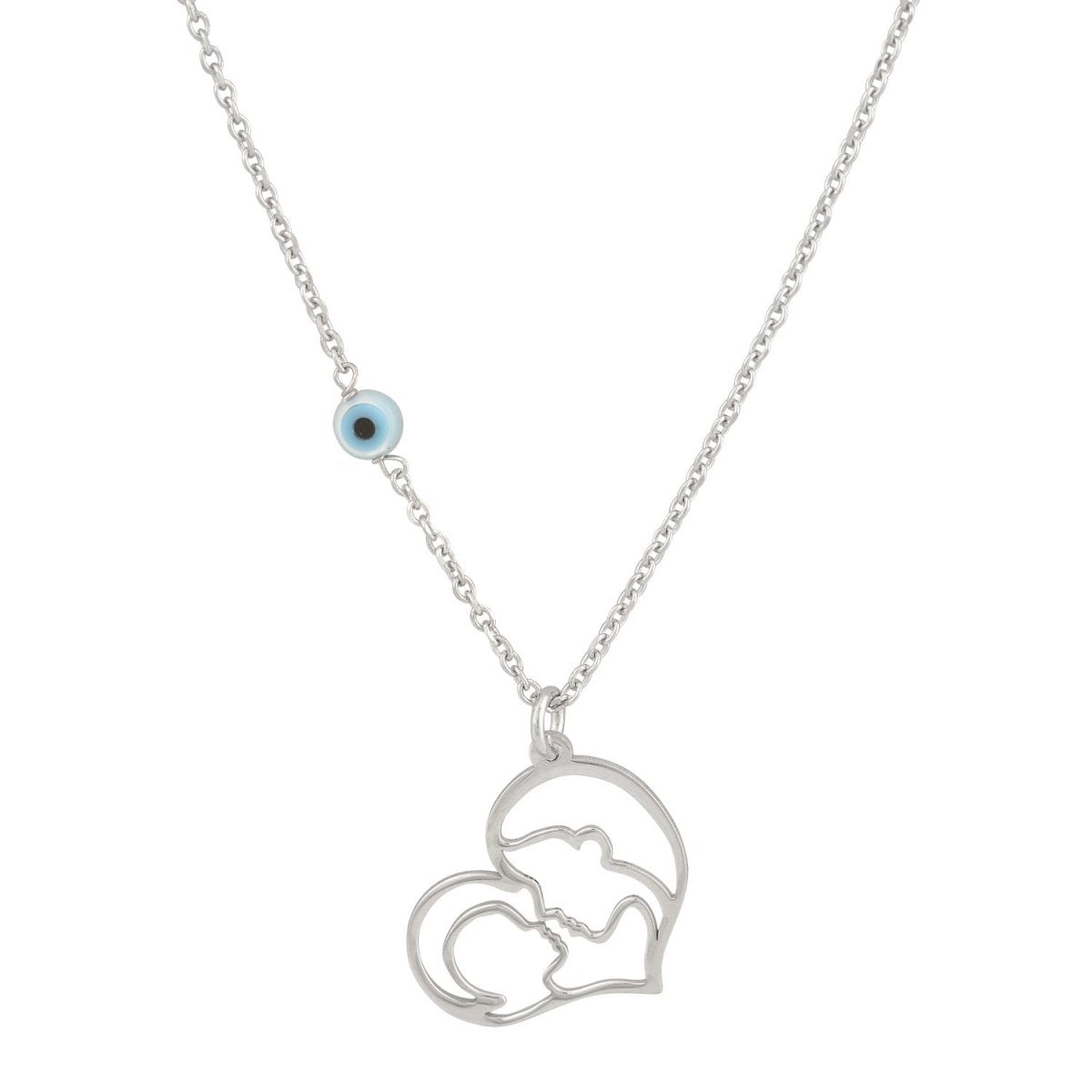 Necklace GM511W Mom-Child Platinum Silver - Goldy Jewelry Store