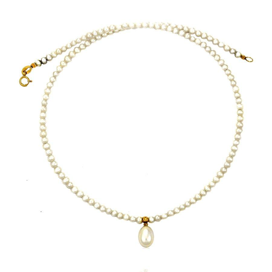 Necklace NLA11020 Gold with Pearls K9 - Goldy Jewelry Store