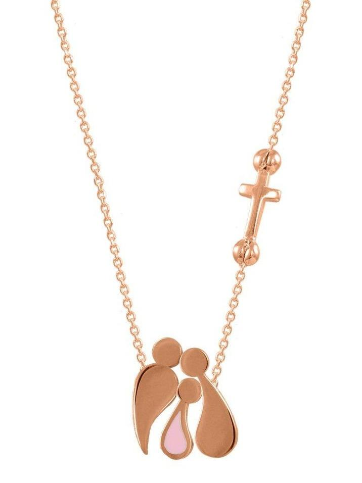 G3000R Family Necklace Made of Rose Gold Plated Silver with Pink Enamel - Goldy Jewelry Store