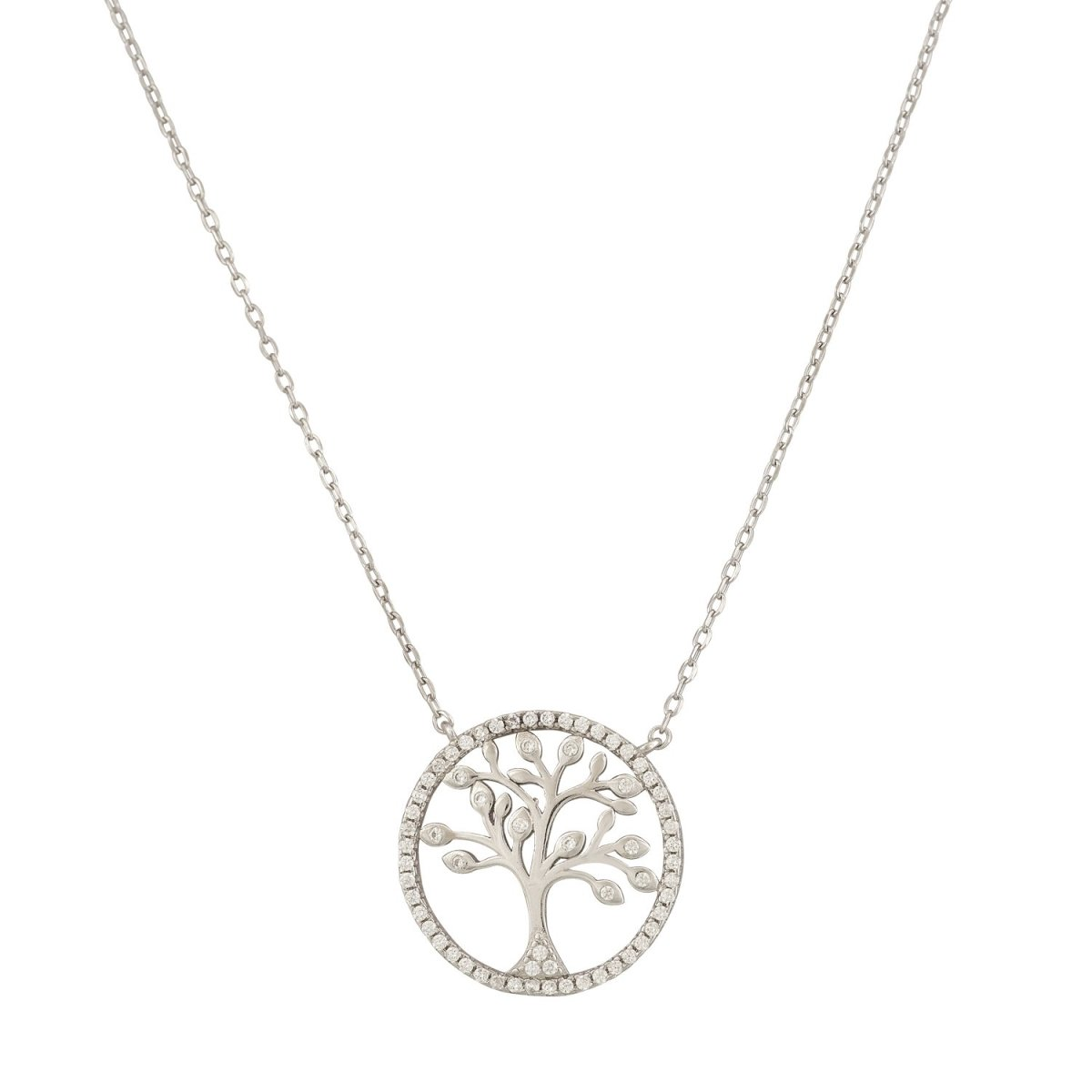 Necklace ZN1053W Platinum Silver Tree of Life - Goldy Jewelry Store
