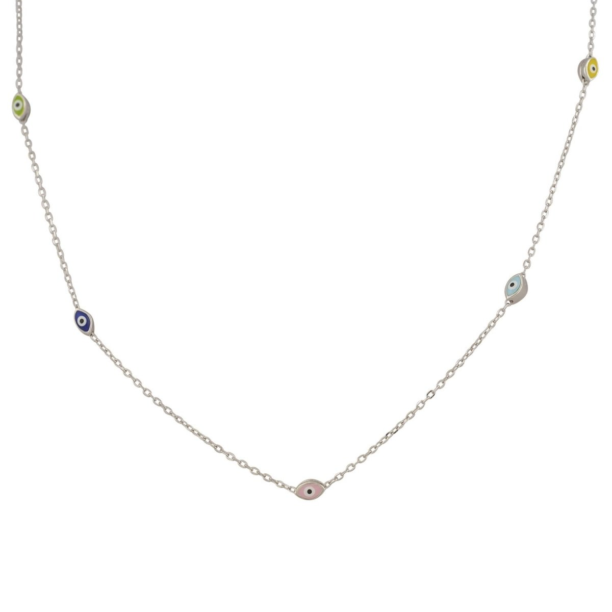 Necklace ZN1393W Colorful Platinum Silver Eyes - Goldy Jewelry Store