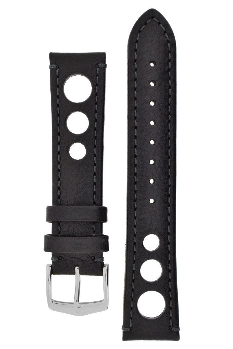 Λουρί Hirsch Rully Buffalo Calfskin 05102050 Black Leather Strap - Κοσμηματοπωλείο Goldy