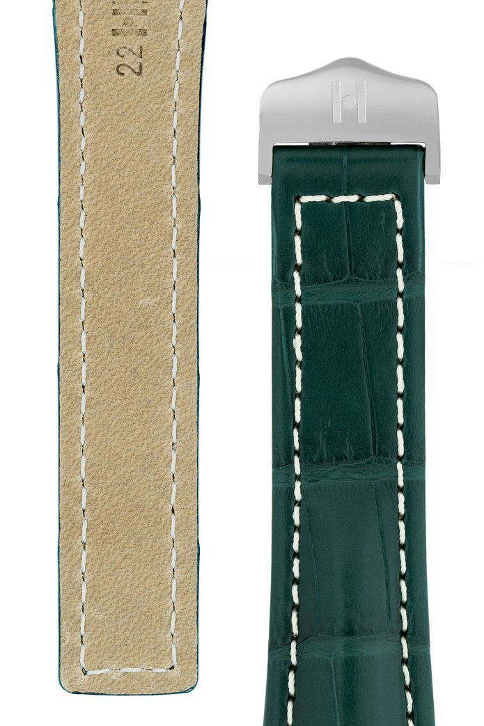 Λουρί Navigator Louisiana Alligator 07007449 Green Leather Strap - Κοσμηματοπωλείο Goldy