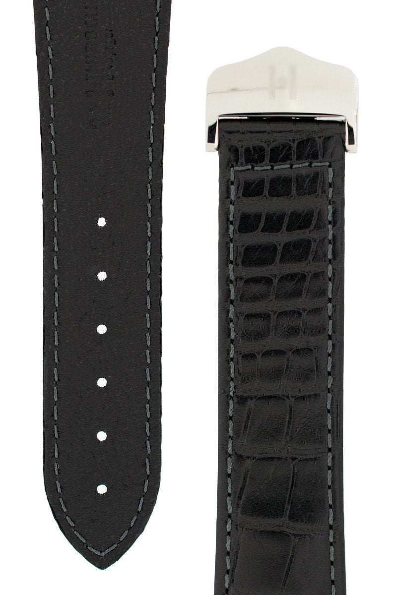 Λουρί Navigator Louisiana Alligator 07107459 Black Leather Strap - Κοσμηματοπωλείο Goldy