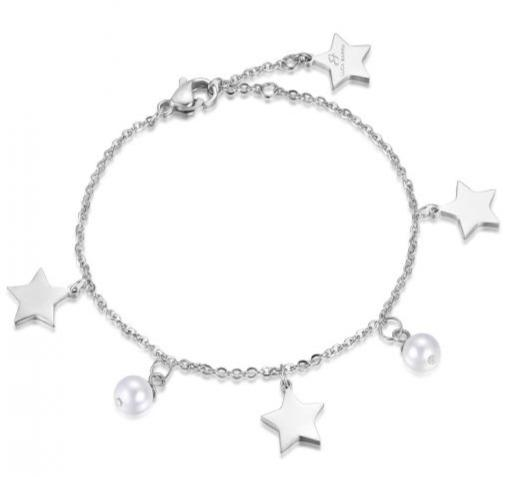 Luca Barra BK1685 Steel Bracelet with Stars and Pearls - Goldy Jewelry Store