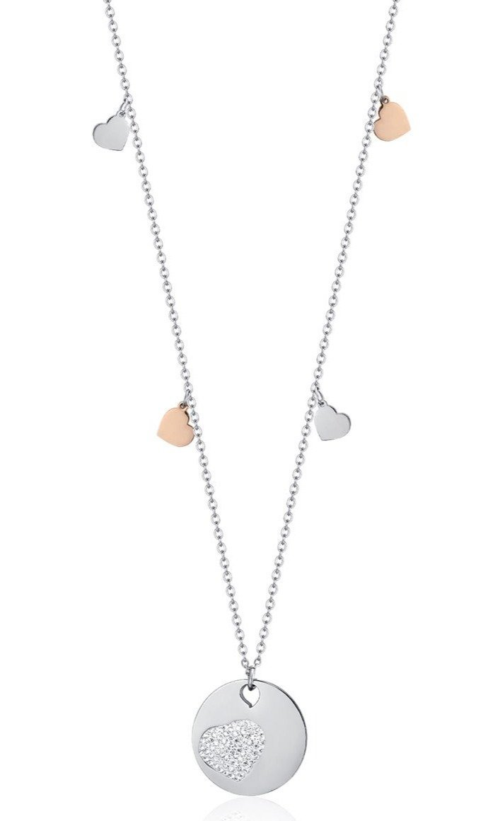 Luca Barra CK1371 Long Steel Necklace with Hearts - Goldy Jewelry Store