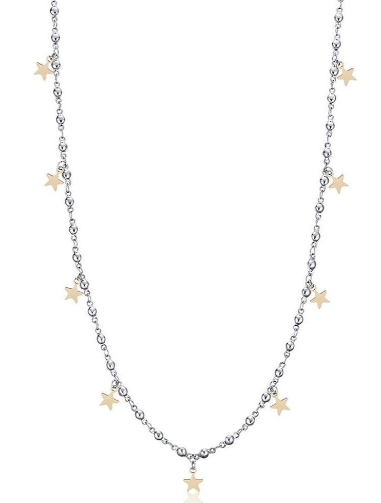 Luca Barra CK1404 Long Steel Necklace with Gold Stars - Goldy Jewelry Store