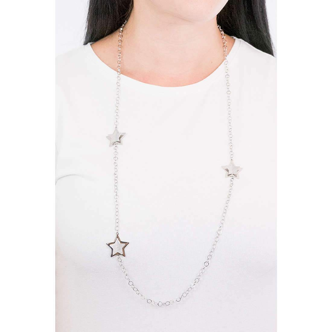 Luca Barra CK1437 Long Steel Necklace with Stars - Goldy Jewelry Store
