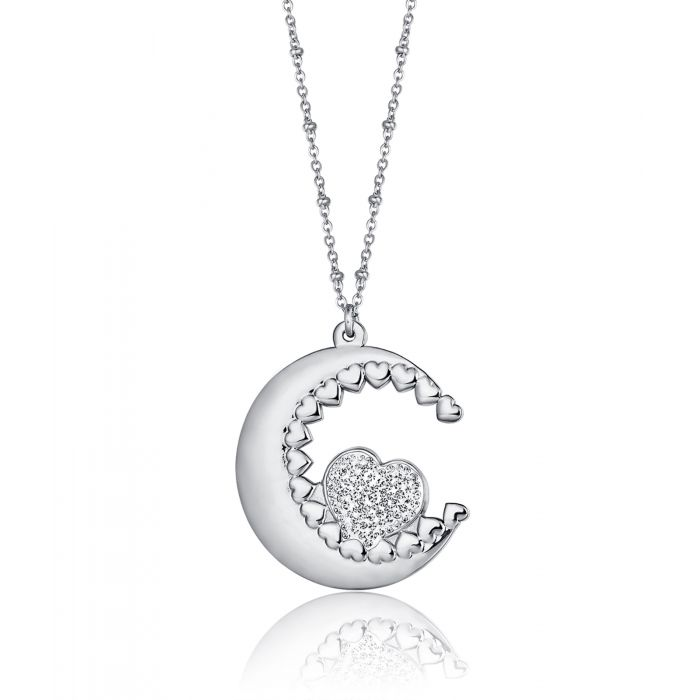 Luca Barra CK1453 Long Steel Necklace with Moon - Goldy Jewelry Store