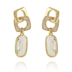 LUXENTER SGEM009115 Gold Plated Drop Earrings - Goldy Jewelry Store