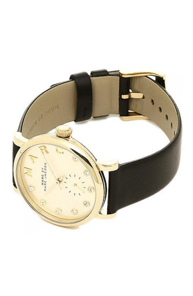 Marc Jacobs MBM1399 Baker Gold Black Leather Strap - Goldy Jewelry