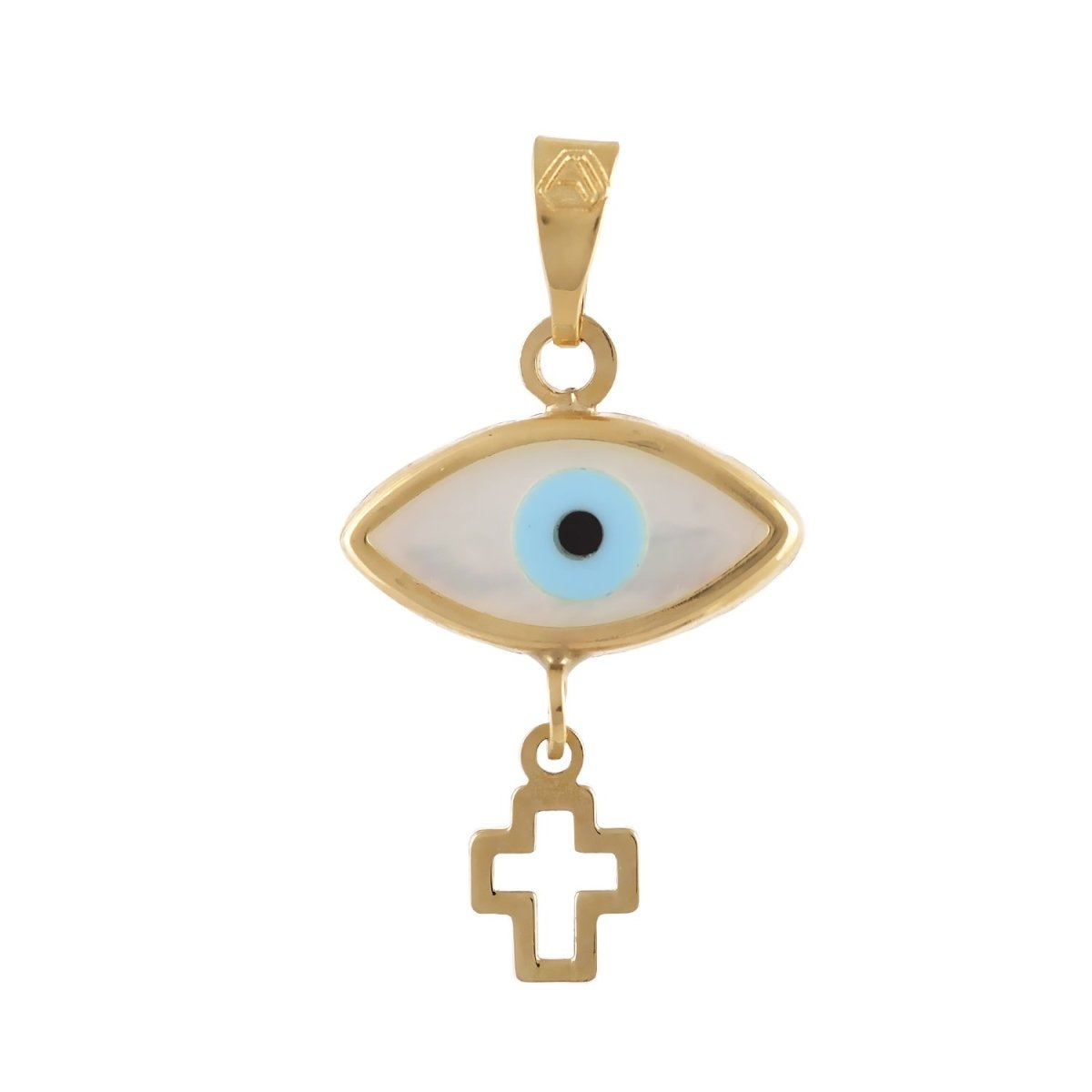 Eyelet with Cross M123 Gold with Fildisi K9 - Goldy Jewelry Store