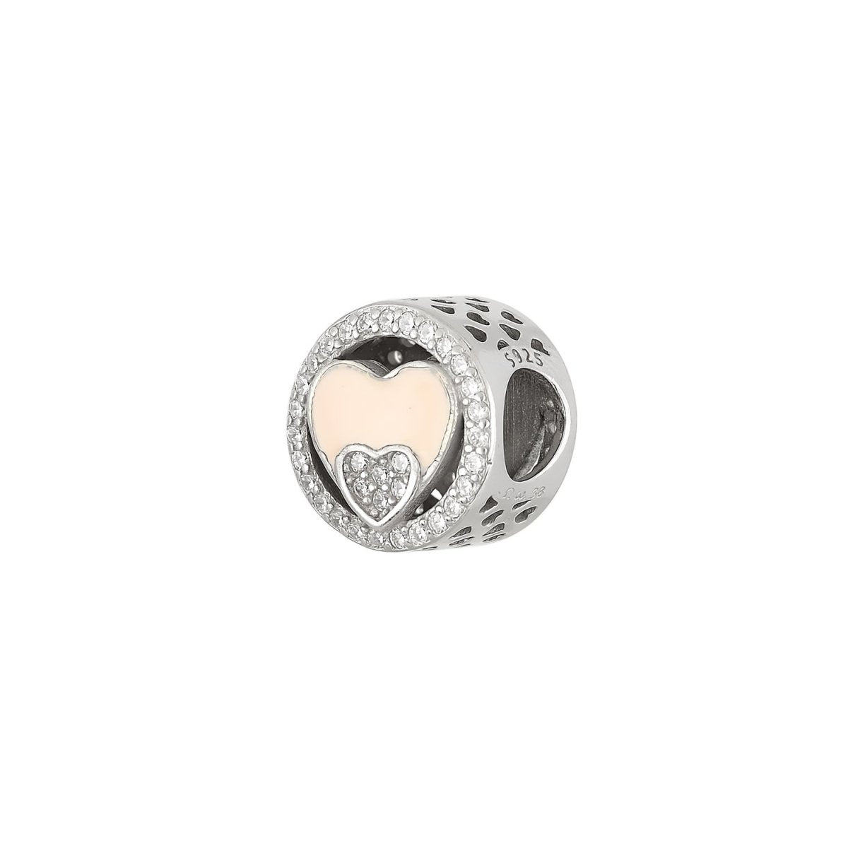 Pattern for Bracelet D010W Heart From Platinum Silver - Goldy Jewelry Store