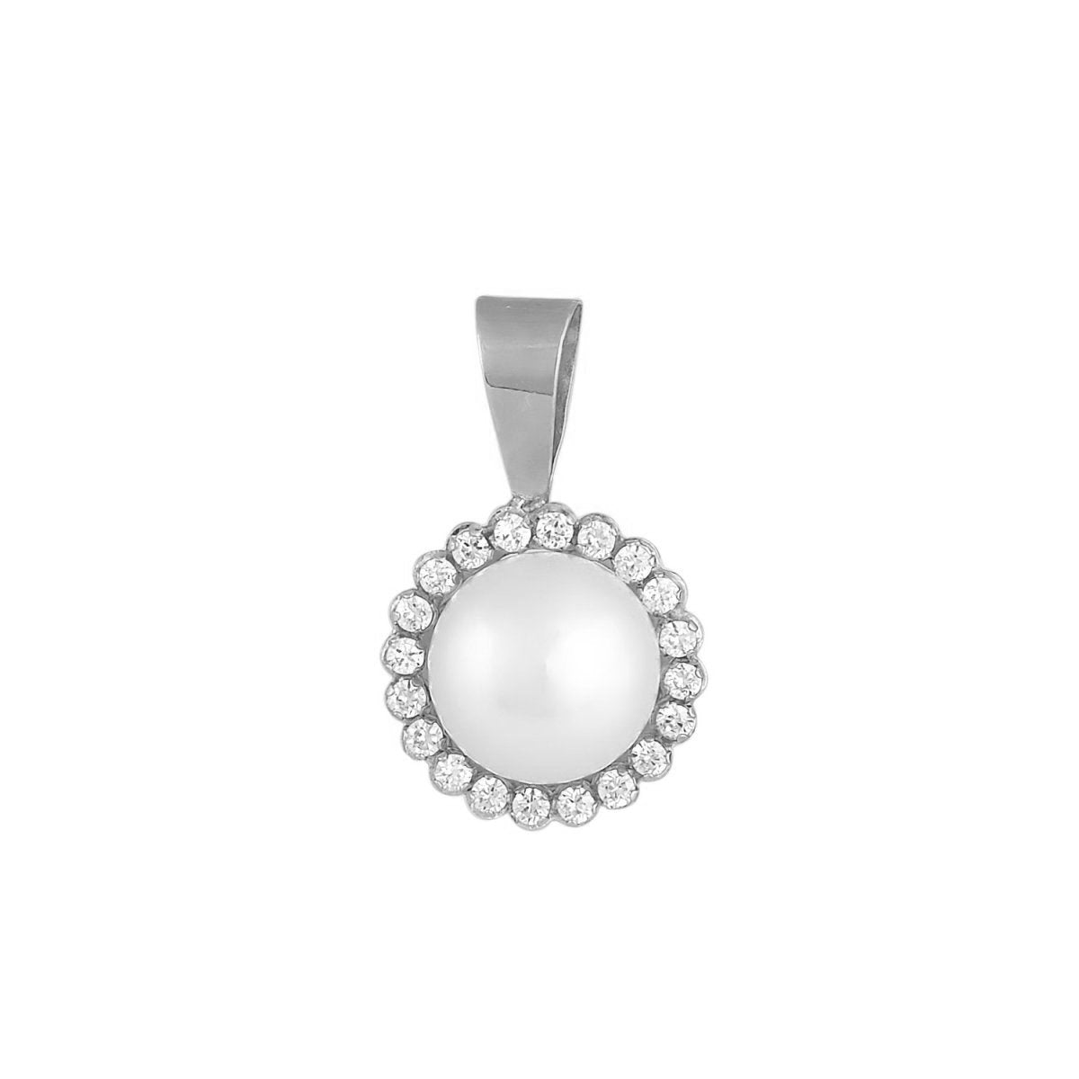 Motif MP56W White Gold K14 with Pearl and Zircon - Goldy Jewelry Store