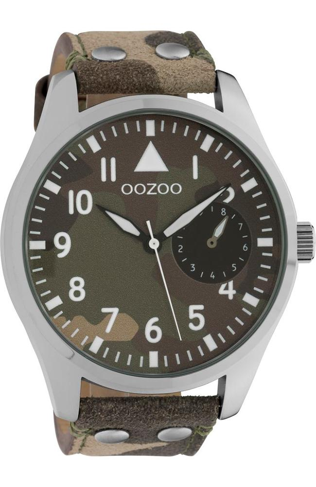 OOZOO C10326 50MM Timepieces Brown Military Leather Strap - Κοσμηματοπωλείο Goldy