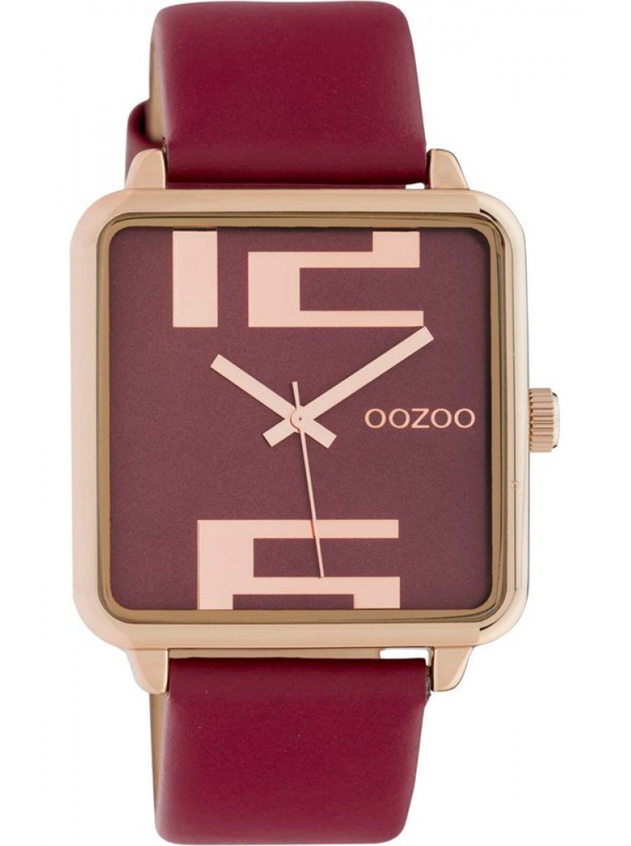 OOZOO C10363 35MM Timepieces Red Leather Strap - Κοσμηματοπωλείο Goldy
