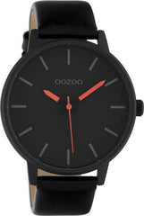 OOZOO C10384 45MM Timepieces Black Leather Strap - Κοσμηματοπωλείο Goldy