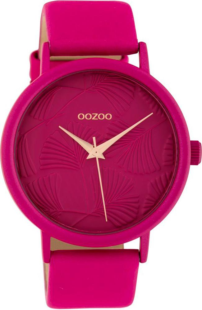 OOZOO C10399 42MM Timepieces Fuchsia Leather Strap - Κοσμηματοπωλείο Goldy