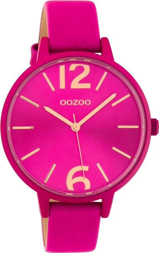 OOZOO C10443 42MM Timepieces Fuchsia Leather Strap - Κοσμηματοπωλείο Goldy
