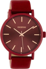 OOZOO C10445 42MM Timepieces Red Leather Strap - Κοσμηματοπωλείο Goldy