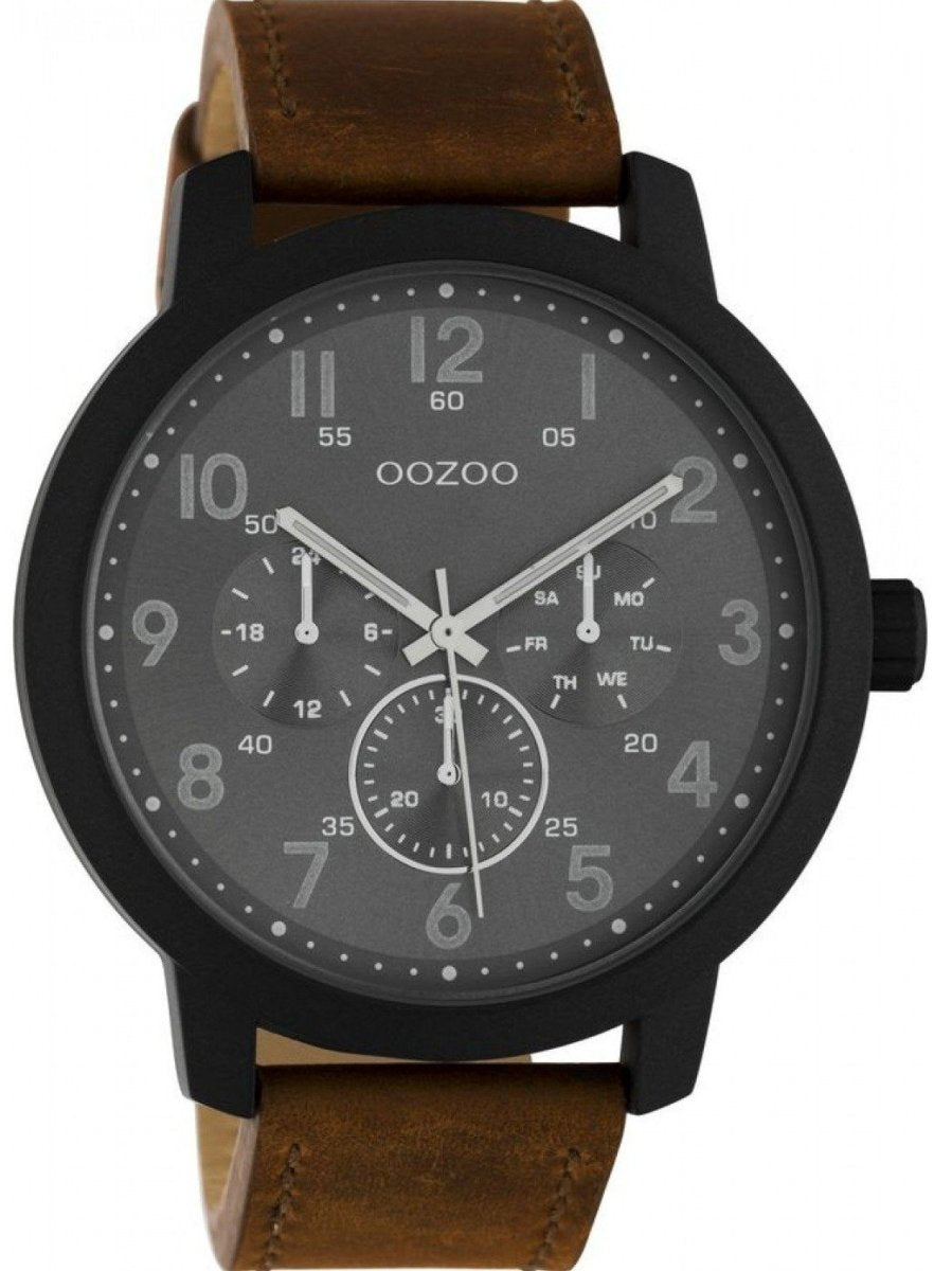 OOZOO C10507 50MM Timepieces Brown Leather Strap - Goldy Jewelry