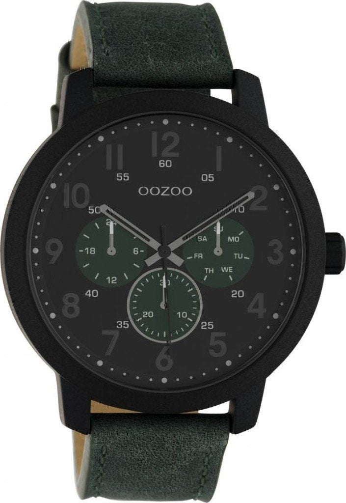 OOZOO C10508 50MM Timepieces Green Leather Strap - Goldy Jewelry