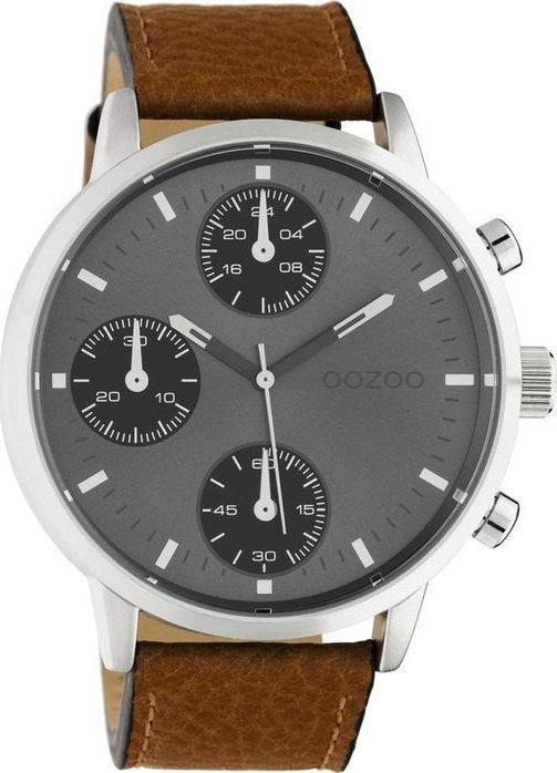 OOZOO C10530 50MM Timepieces Brown Leather Strap - Κοσμηματοπωλείο Goldy