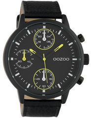 OOZOO C10534 50MM Timepieces Black Leather Strap - Goldy Jewelry