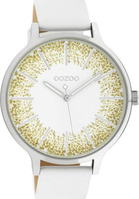 OOZOO C10565 45MM Timepieces White Leather Strap - Goldy Jewelry