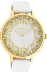 OOZOO C10566 45MM Timepieces White Leather Strap - Goldy Jewelry
